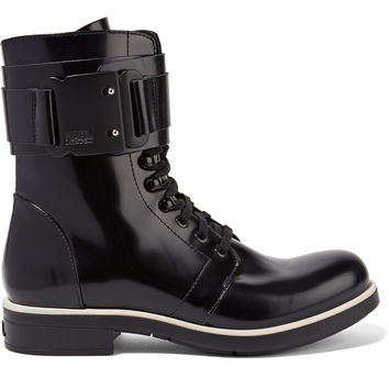 Glossed-leather ankle boots | Karl Lagerfeld | UK | THE OUTNET