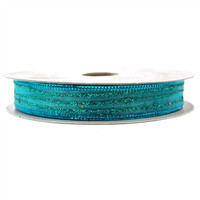 Sheer Glitter Stripe Ribbon, 5/8-inch, 50-yard, Turquoise