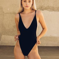 Ribbed One Piece - Black