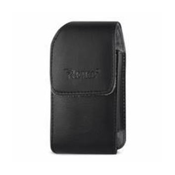 REIKO VERTICAL LEATHER POUCH TREO 650 WITH MEGNETIC AND BELT CLIP IN BLACK (4.4X2.3X0.9 INCHES)
