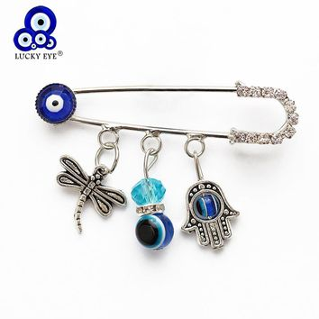 Lucky Eye 16 Styles Evil Eye Owl Elephant Cat Charms Brooch & Pin For Women Men Jewelry Crystal Buckle Clips EY4702