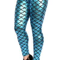 BadAssLeggings Womens' Shiny Mermaid Leggings Medium Teal Blue