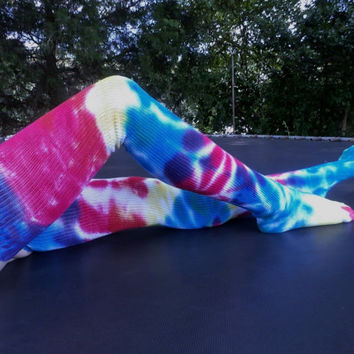 Thigh High - Tie Dye - Socks - Happy Hippie - Accessories - Dancer- Yoga - Clothing- Made To Order