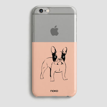 NOKO Clear Trasparent iPhone 6 Case, iPhone 6s case, iPhone 6 Plus Case, iPhone 6s plus case French Bulldog