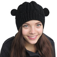 Evelots Knitted Form Fitting Winter Hat W/ Cat Ears Comfortable,Assorted Colors