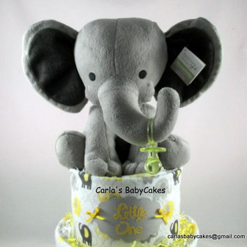 Elephant diaper cake | Grey yellow diaper cake | Baby shower decoration | Baby shower gift | Elephant baby shower | New baby gift