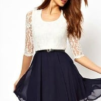 lovely lace bowknot hanging neck dress from shoponline4