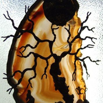 LEAPING OFF THE EDGE -- Tree of Life WOLF Agate | HeartJCreations - Metal Craft on ArtFire