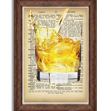 Dictionary art print Kitchen wall decor Dictionary prints alcohol print upcycled bourbon poster whiskey art dining room cocktail art bar art