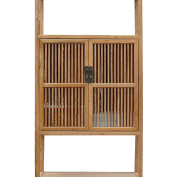 Chinese Light Natural Raw Wood Shutter Doors Bookcase Display Cabinet cs963S