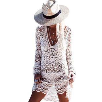Flowery white crochet beach dress 2017 casual sexy hollow out long sleeve summer sundresses
