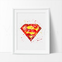 Superman Logo Watercolor Art Print