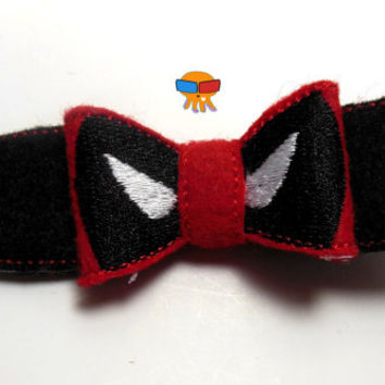Mercenary Fourth Wall Breaking Anti-hero inspired 3D felt bow felt clippie physical item made to order
