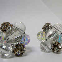 Vintage Vogue Earrings, Faceted, Ab  Crystal & Prong Ball Beads, Vogue Earrings