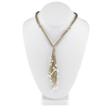 Gold Cotton Cord Multi Strand Freshwater Pearl Necklace - 16 Inches