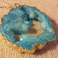 Blue Druzy Necklace Geode Crystal Druzy Necklace With Chain Druzy Necklace