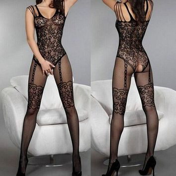 Plus Size Women Sexy Catsuit Tights Stockings Bodysuit Fishnet