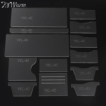 13Pcs/set DIY Women or  Men Leather Wallet Sewing Pattern Leather Handcraft PVC Drawing Template