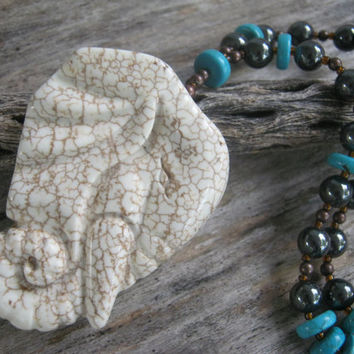 Huge Elephant Statement Necklace, Turquoise & Hematite Necklace, Bohemian, Chunky Necklace, Magnesite, Copper, Indian African, READY To SHIP