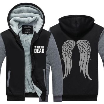 2017 The Walking Dead Daryl Dixon Wings Winter Fleece Zipper Men Sweatshirt Hoodies Men Tracksuit Streetwear USA size Plus size