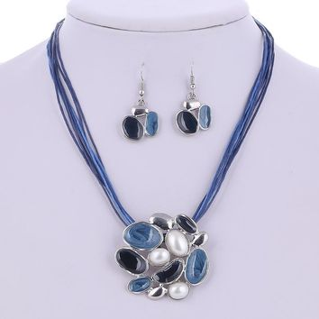 Glossy Enamel Cluster Necklace and Earrings Set - In Three Colors