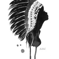 Native American Silhouette - Print of Original watercolor illustration by Lexi Rajkowski native culture, home decor, native, wall art, decor
