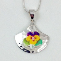 Pansy Necklace Jewelry/Broken China Jewelry/Sterling Silver Pendant Necklace