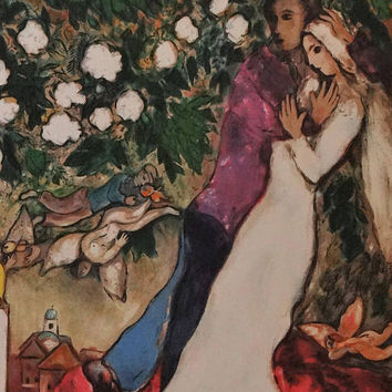 Marc Chagall, interpretation Lithograph, Valentine's day, three candles, religious images, French print, vintage,  optimistic, surrealism,