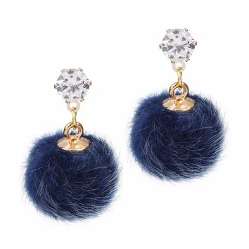 LOULEUR 13 Colors New Fashion Korean Long Plush Ball Drop Earrings For Women Round Statement Red Blue Cute Crystal Earring