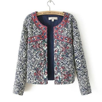 Trendy Bohemian Red Embroidery Blue White Floral Print Paisley Jacket Ethnic Women O neck Long sleeve Quilted Thin Padded Coats Suits AT_94_13