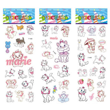 3 sheets set The Aristocats pattern bubble stickers for kids decor on notebook Marie Cat 3D sticker doodle toy stickers