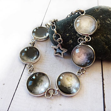 Moon phases bracelet, Phases of the moon jewelry, Silver space bracelet, Full moon crescent moon solar system lunar bracelet, Link bracelet
