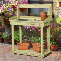 Natural Wood Potting Bench Table with Sink & Outdoor Storage Space