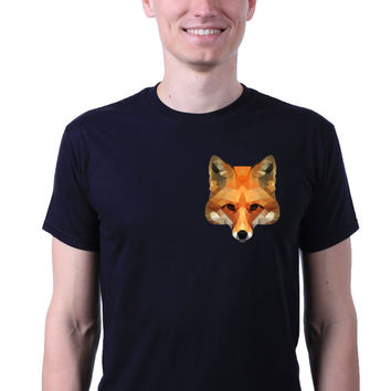 Geometric Fox Pocket Head Emoji Hipster Animal Print T-shirt