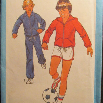 SALE Uncut 1970's Simplicity Sewing Pattern, 8449! Size 7 & 8 Boys/Kids/Children/Soccer Uniforms/Jogging Clothes/Sweat Pants/Hoodie/Sports S