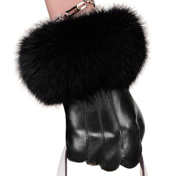 Winter Spring Fashion Winter Sheepskin Gloves Lambskin