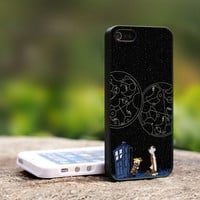 Calvin And Hobbes Tardis Police Call Box Doctor Dr. Who - TCAB065 - For iPhone 4 / 4S Case, iPhone 5 Case ( Black, White, Clear)