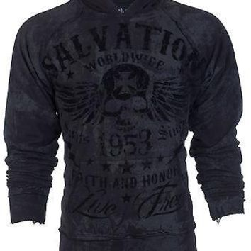 Licensed Official ARCHAIC by AFFLICTION Mens Hoodie Sweat Shirt Jacket BLACK TIDE Biker UFC  $78