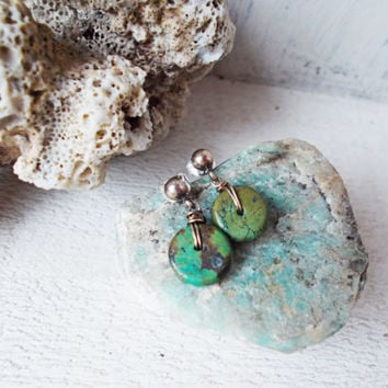 Hubei turquoise sterling silver post earrings, small dangle studs, genuine stabilized green stone discs, oxidized, bohemian, summer jewelry