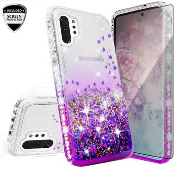 Samsung Galaxy Note 10+ Case,Galaxy Note 10 Plus Case Liquid Glitter Phone Case Waterfall Floating Quicksand Bling Sparkle Cute Protective Girls Women Cover for Galaxy Note 10 Plus W/Temper Glass - Purple