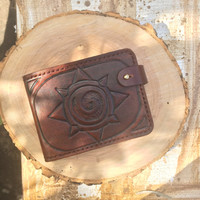Hearthstone Heroes Of Warcraft Handcrafted Vegetable-tanned Leather Bifold Wallet
