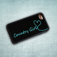 Country Girl Tiffany Blue and Black Monogrammed Custom Insert with Bumper Case for iPhone 4 or 4s - unique, your name, initial, hearts