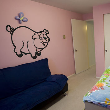 Vinyl Wall Decal Sticker Chunky Pig #OS_AA669