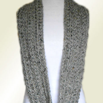 CHUNKY INFINITY SCARF Cowl Gray Long Loop Knit Infinity Scarf Circle Crochet Wool Infiniti Scarf Men Scarves Women Scarves Gift Ideas