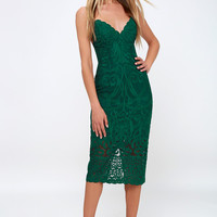 Gia Forest Green Lace Bodycon Midi Dress