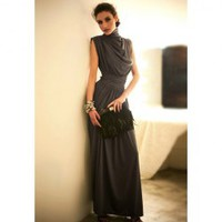 Elegance Elastic Waist Ruffle Stand Collar Sleeveless Evening Dress For Women (DEEP GRAY,ONE SIZE) | Sammydress.com