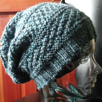 Knit Hat, Slouchy, Beanie, Stocking Cap, Dusty Blue, Blue Gray, Textured, Patterned