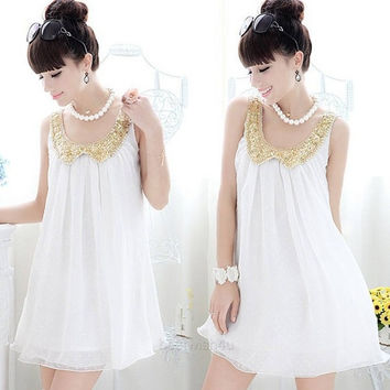 Women New Pregnant Maternity Sweet Sleeveless Doll Collar Chiffon Short Dress = 1945815812