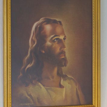 Vintage Framed Jesus Litho Print- The Head of Christ 1941- Warner Sallman- Religious Lithograph- Catholic Imagery- Christian Art