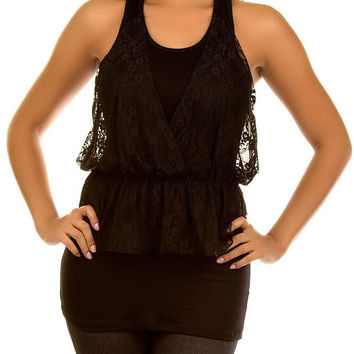 Lace Overlay Tank Top in Black